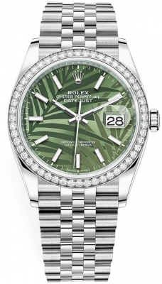 Rolex Datejust 36mm Stainless Steel 126284rbr Olive Green Palm Jubilee