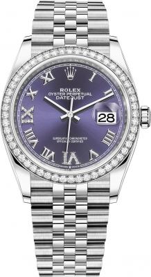 Rolex Datejust 36mm Stainless Steel 126284rbr Aubergine Roman VI IX Jubilee