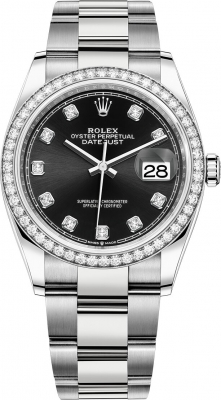 Rolex Datejust 36mm Stainless Steel 126284rbr Black Diamond Oyster