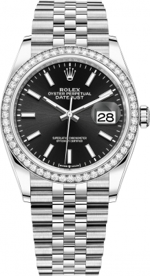 Rolex Datejust 36mm Stainless Steel 126284rbr Black Index Jubilee