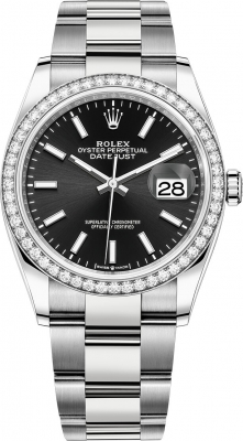 Rolex Datejust 36mm Stainless Steel 126284rbr Black Index Oyster
