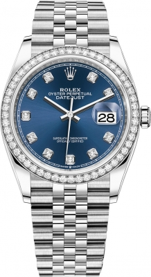 Rolex Datejust 36mm Stainless Steel 126284rbr Blue Diamond Jubilee