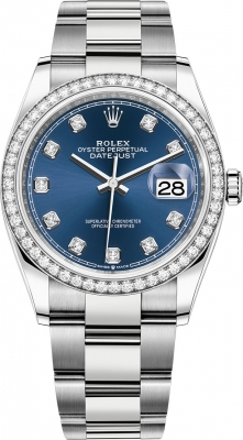 Rolex Datejust 36mm Stainless Steel 126284rbr Blue Diamond Oyster