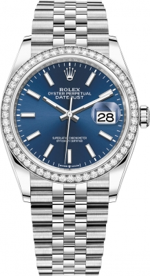 Rolex Datejust 36mm Stainless Steel 126284rbr Blue Index Jubilee