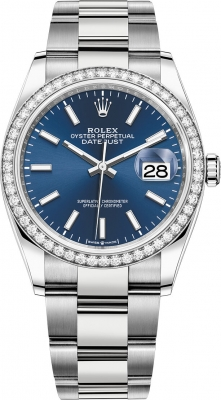 Rolex Datejust 36mm Stainless Steel 126284rbr Blue Index Oyster