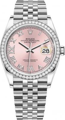Rolex Datejust 36mm Stainless Steel 126284rbr Pink Roman VI IX Jubilee