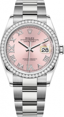 Rolex Datejust 36mm Stainless Steel 126284rbr Pink Roman VI IX Oyster