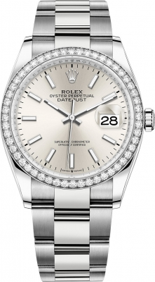 126284rbr Silver Index Oyster