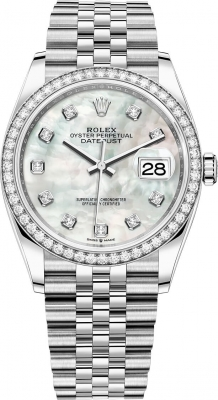 Rolex Datejust 36mm Stainless Steel 126284rbr White MOP Diamond Jubilee