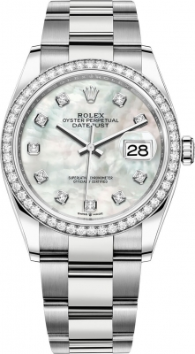 Rolex Datejust 36mm Stainless Steel 126284rbr White MOP Diamond Oyster