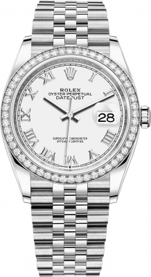 Rolex Datejust 36mm Stainless Steel 126284rbr White Roman Jubilee