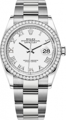 Rolex Datejust 36mm Stainless Steel 126284rbr White Roman Oyster