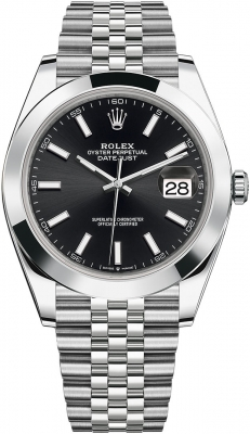Rolex Datejust 41mm Stainless Steel 126300 Black Index Jubilee
