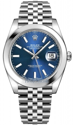Rolex Datejust 41mm Stainless Steel 126300 Blue Index Jubilee