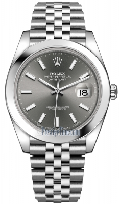 Rolex Datejust 41mm Stainless Steel 126300 Dark Rhodium Index Jubilee