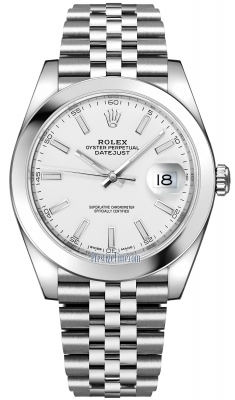Rolex Datejust 41mm Stainless Steel 126300 White Index Jubilee