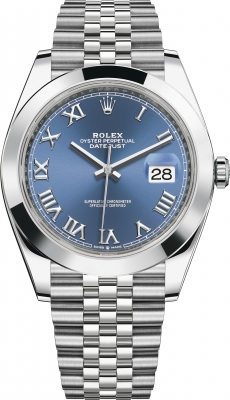 Rolex Datejust 41mm Stainless Steel 126300 Blue Roman Jubilee