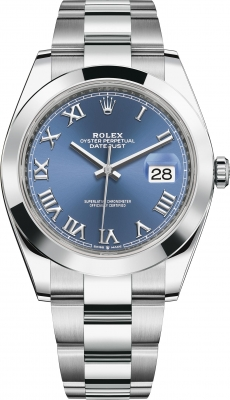 Rolex Datejust 41mm Stainless Steel 126300 Blue Roman Oyster