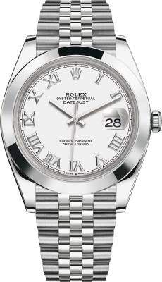 Rolex Datejust 41mm Stainless Steel 126300 White Roman Jubilee