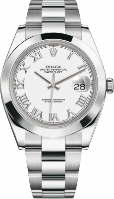 Rolex Datejust 41mm Stainless Steel 126300 White Roman Oyster