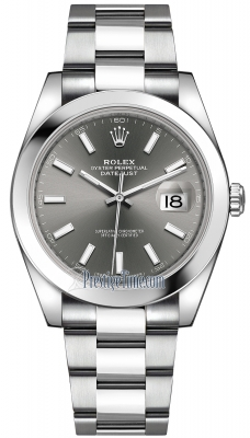 Rolex Datejust 41mm Stainless Steel 126300 Dark Rhodium Index Oyster
