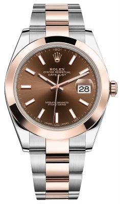 Rolex Datejust 41mm Steel and Everose Gold 126301 Chocolate Index Oyster