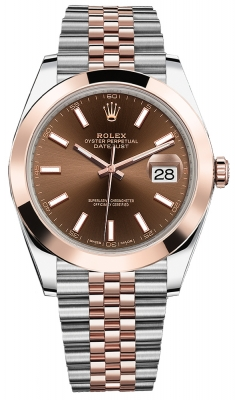 Rolex Datejust 41mm Steel and Everose Gold 126301 Chocolate Index Jubilee