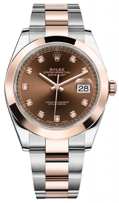 Rolex Datejust 41mm Steel and Everose Gold 126301 Chocolate Diamond Oyster