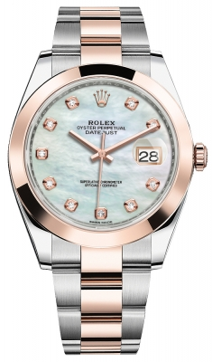 Rolex Datejust 41mm Steel and Everose Gold 126301 MOP Diamond Oyster