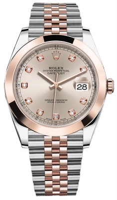 Rolex Datejust 41mm Steel and Everose Gold 126301 Sundust Diamond Jubilee
