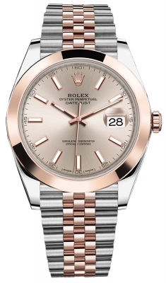 Rolex Datejust 41mm Steel and Everose Gold 126301 Sundust Index Jubilee