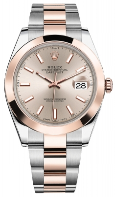Rolex Datejust 41mm Steel and Everose Gold 126301 Sundust Index Oyster
