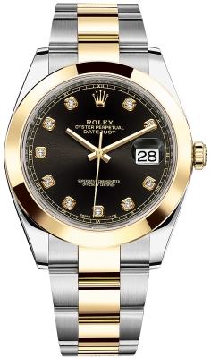 Rolex Datejust 41mm Steel and Yellow Gold 126303 Black Diamond Oyster