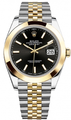 Rolex Datejust 41mm Steel and Yellow Gold 126303 Black Index Jubilee