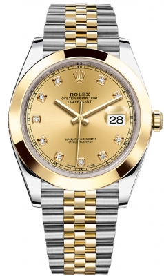 Rolex Datejust 41mm Steel and Yellow Gold 126303 Champagne Diamond Jubilee