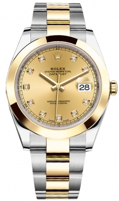 Rolex Datejust 41mm Steel and Yellow Gold 126303 Champagne Diamond Oyster