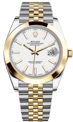 Rolex Datejust 41mm Steel and Yellow Gold 126303 White Index Jubilee