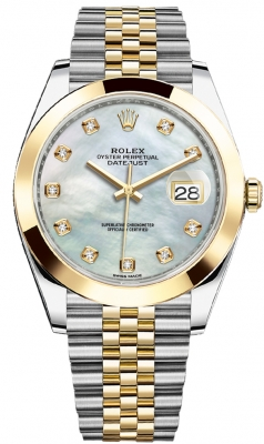 Rolex Datejust 41mm Steel and Yellow Gold 126303 White MOP Diamond Jubilee