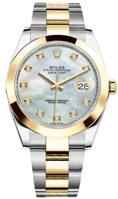 Rolex Datejust 41mm Steel and Yellow Gold 126303 White MOP Diamond Oyster