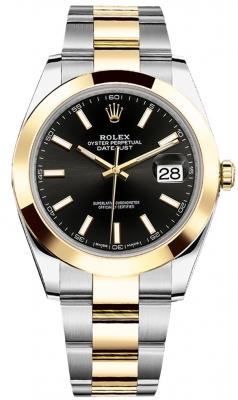 Rolex Datejust 41mm Steel and Yellow Gold 126303 Black Index Oyster