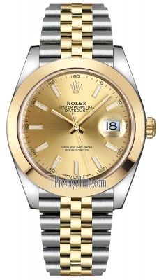 Rolex Datejust 41mm Steel and Yellow Gold 126303 Champagne Index Jubilee