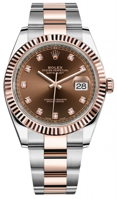 Rolex Datejust 41mm Steel and Everose Gold 126331 Chocolate Diamond Oyster