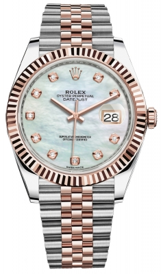 Rolex Datejust 41mm Steel and Everose Gold 126331 MOP Diamond Jubilee