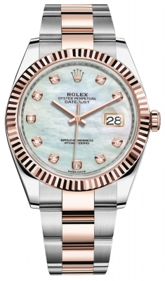 Rolex Datejust 41mm Steel and Everose Gold 126331 MOP Diamond Oyster