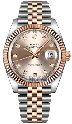 Rolex Datejust 41mm Steel and Everose Gold 126331 Sundust Diamond Jubilee