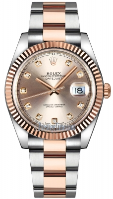 Rolex Datejust 41mm Steel and Everose Gold 126331 Sundust Diamond Oyster