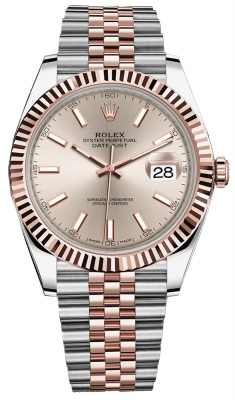 Rolex Datejust 41mm Steel and Everose Gold 126331 Sundust Index Jubilee