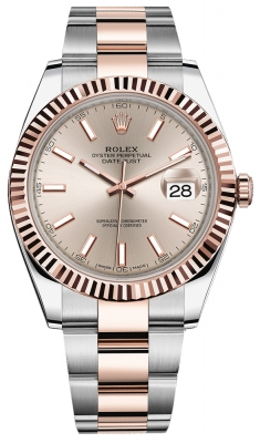 Rolex Datejust 41mm Steel and Everose Gold 126331 Sundust Index Oyster