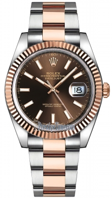 Rolex Datejust 41mm Steel and Everose Gold 126331 Chocolate Index Oyster