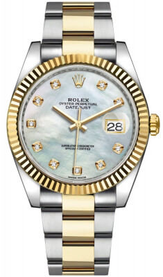 Rolex Datejust 41mm Steel and Yellow Gold 126333 White MOP Diamond Oyster